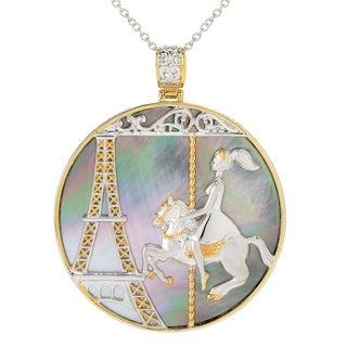 Michael Valitutti Palladium Silver Paris Round Mother-of-Pearl Eiffel Tower & Carousel Pendant - peacock