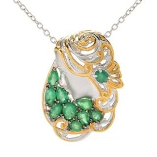 Michael Valitutti Palladium Silver Emerald Cluster Sculpted Portrait Pendant - Green