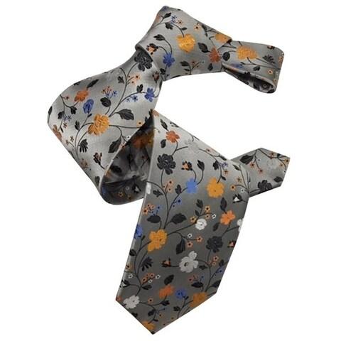 Dmitry Men's 7-Fold Silver Floral Patterned Italian Silk Tie