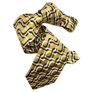 Dmitry Men's 7-Fold Gold Patterned Italian Silk Tie