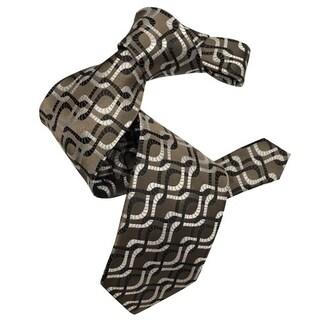 Dmitry Men's 7-Fold Brown Patterned Italian Silk Tie