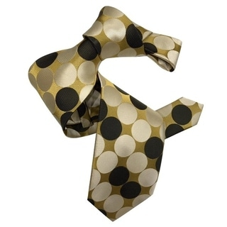 Dmitry Men's 7-Fold Gold Polka Dot Patterned Italian Silk Tie