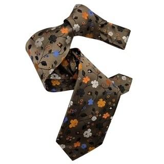 Dmitry Men's 7-Fold Brown Floral Patterned Italian Silk Tie