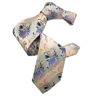 Dmitry Men's 7-Fold Ivory Patterned Italian Silk Tie