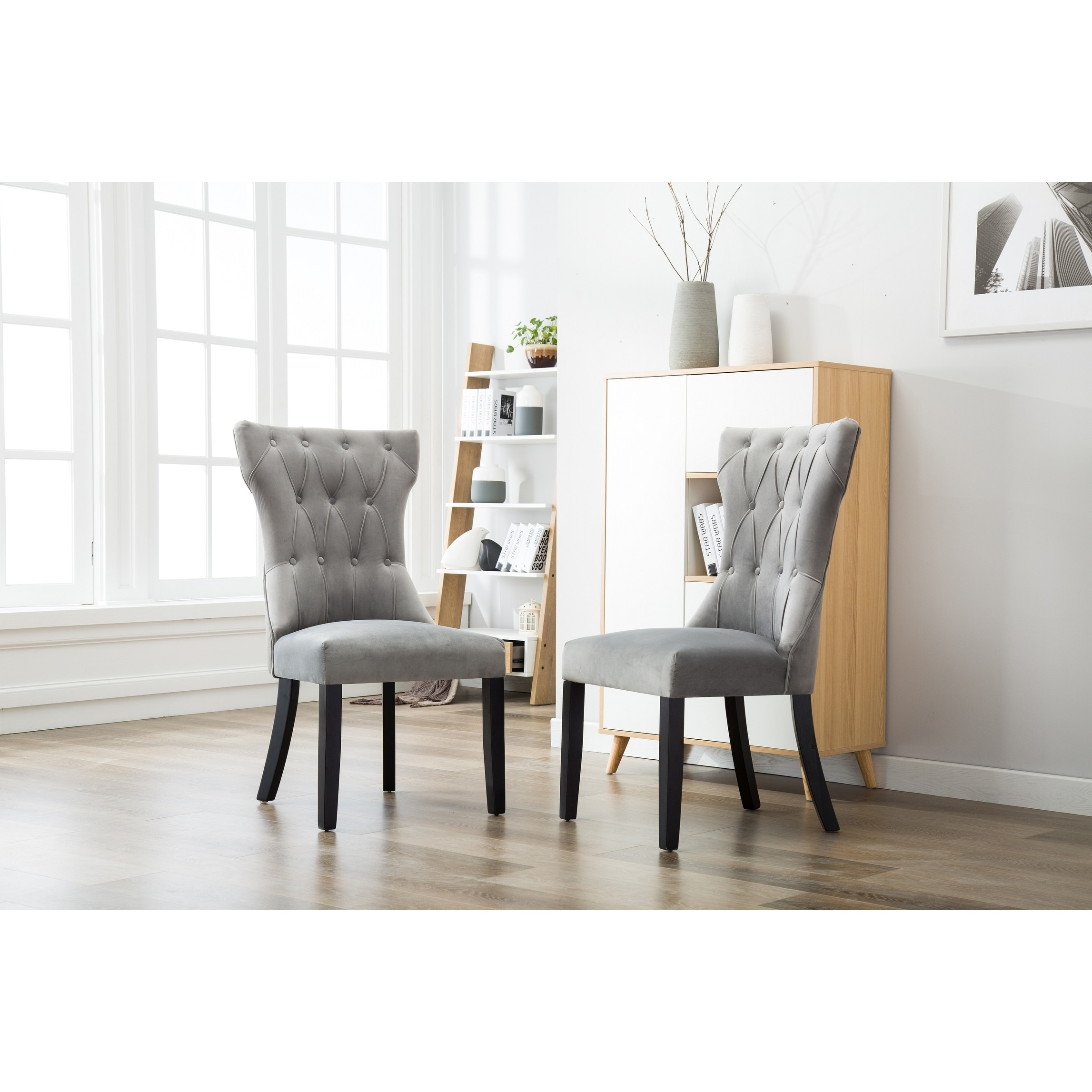 Reims Velvet Tufted Upholstered Solid Wood Dining Chairs-...