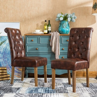 Habit Faux Leather Tufted Parsons Dining Chairs (Set of 2)