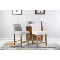 Carlisle Counter Height Button Tufted Solid Wood Bar Stools, Set of 2