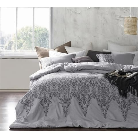 BYB Baroque Stitch Comforter - Alloy/Pewter Embroidery