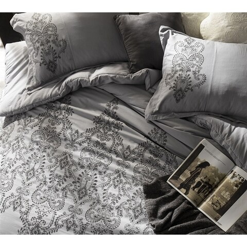 Baroque Stitch Duvet Cover - Alloy/Pewter Embroidery