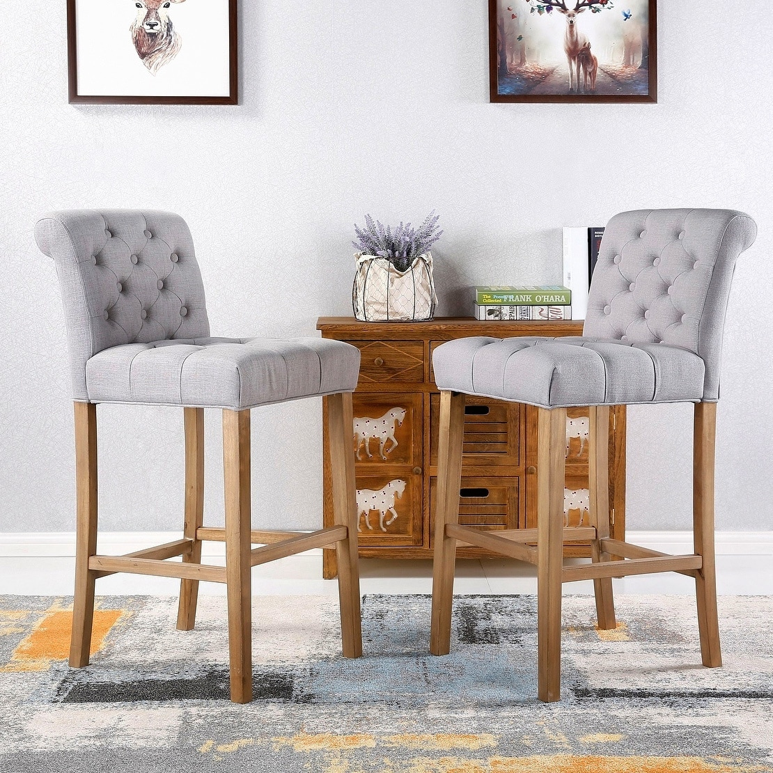 Cool Carlisle Bar Height Button Tufted Solid Wood Bar Stools Set Of 2 Unemploymentrelief Wooden Chair Designs For Living Room Unemploymentrelieforg