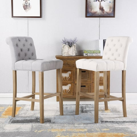 Carlisle Bar-height Button-tufted Solid Wood Bar Stools (Set of 2)