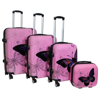 World Traveler Butterfly Light Pink 4-piece Hardside Spinner Luggage Set