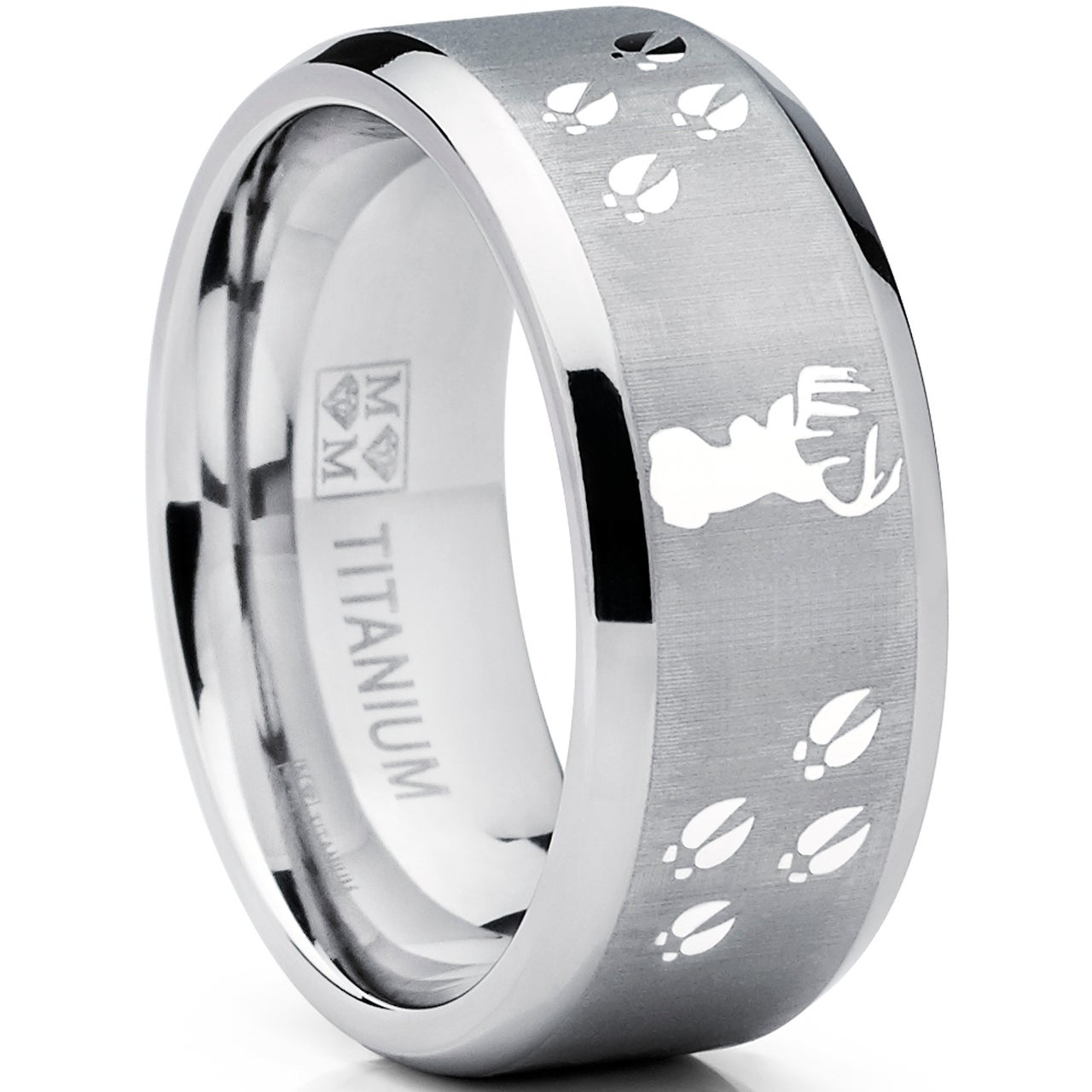 Mens Outdoors Bands: Oliveti Men's Titanium Hunting Deer Tracks Ring Outdoor