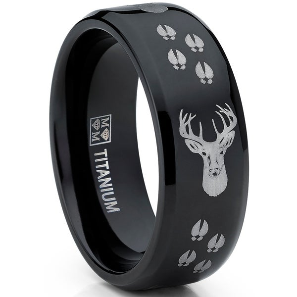 Mens Outdoors Bands: Shop Oliveti Men's Black Titanium Ring Outdoor Deer Tracks