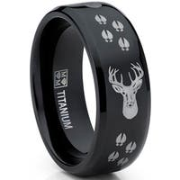 Oliveti Men's Black Titanium Ring Outdoor Deer Tracks Hunting Band Comfort fit  8mm