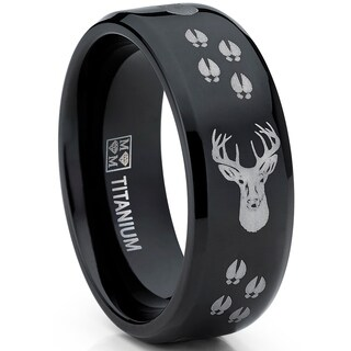 Oliveti Men's Black Titanium Ring Outdoor Deer Tracks Hunting Band Comfort fit 8mm