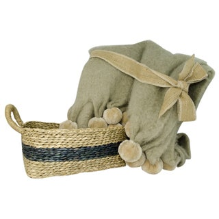 TAG Mohair Throw & Basket Gift Set, 2 piece