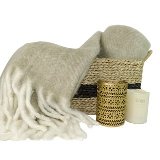 TAG Wool Throw, Basket and Candle Light Set, 4 piece