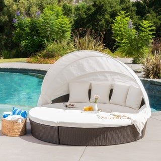 La Mesa Outdoor Aluminum/Wicker Daybed with Ice Bucket by Christopher Knight Home
