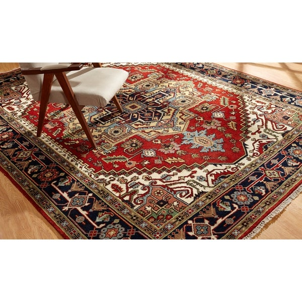 Hand-knotted Umbria Red/Navy Wool Rug (6' x 9') - 6' x 9'