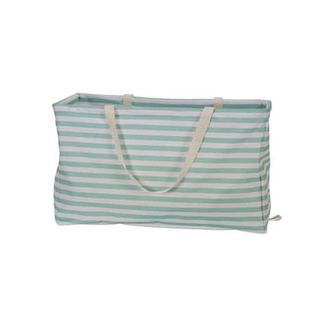 KRUSH CONTAINER Rectangle Tote Bag. Teal Stripes