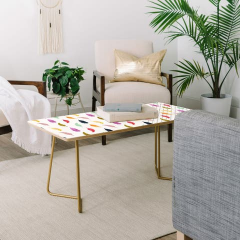 Deny Designs Feathers and Dots Coffee Table (2 Leg Options)