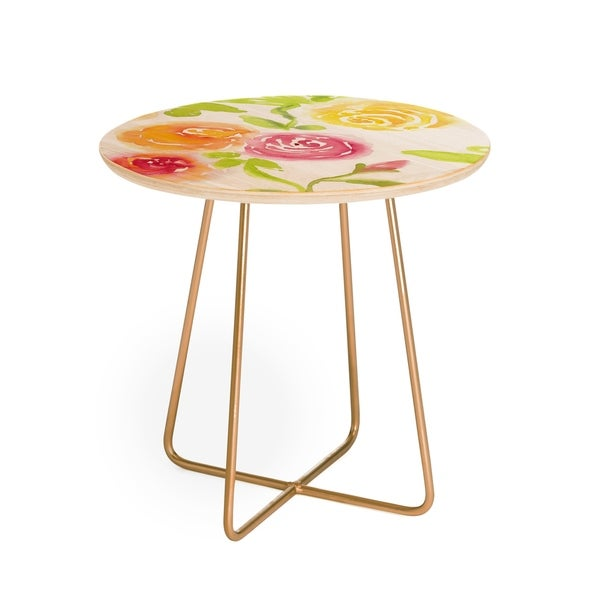 Laura Trevey Candy Colored Blooms Round Side Table