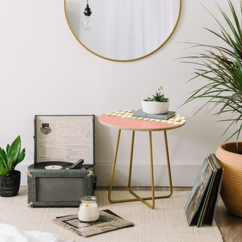 Deny Designs Gold Triangles Side Table (Round or square, 2 leg options)