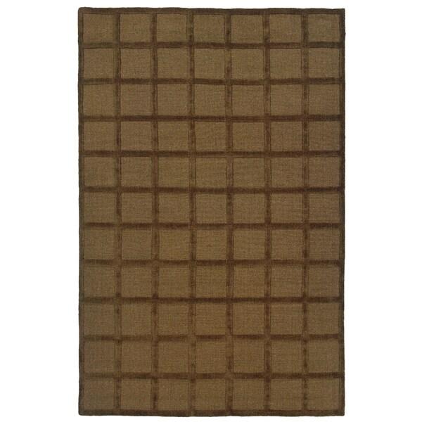 Hand-Loomed Galaxy Brown Wool Square Blocks Area Rug (8'x10')