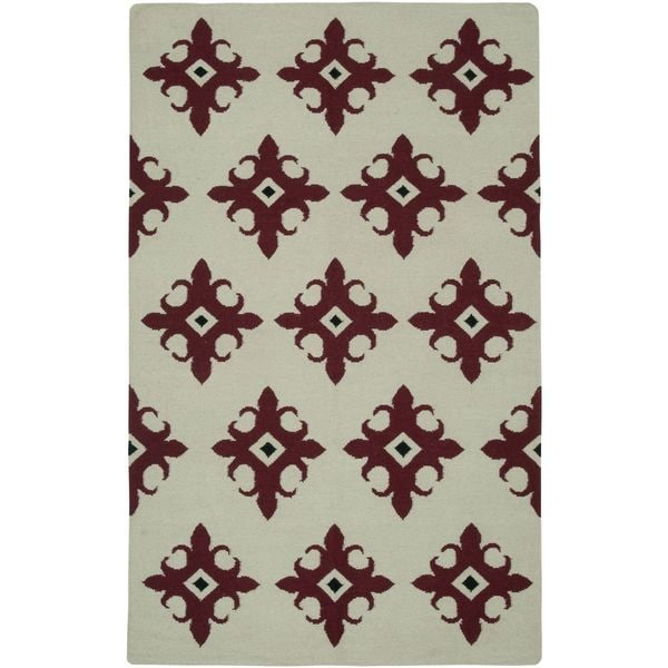 Handmade Flatweave Swing Beige Wool Damask Area Rug - 8' x 10'