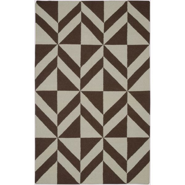 Handmade Flatweave Swing Brown Wool Geometric Abstract Diamonds Area Rug - 8'x10