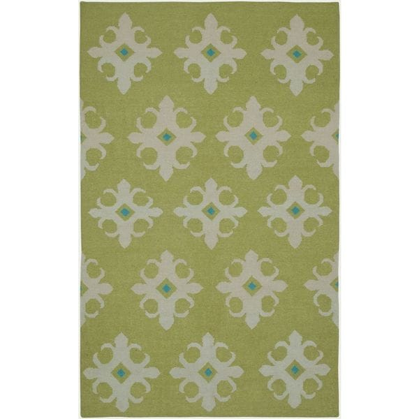 Handmade Flatweave Swing Green Wool Damask Area Rug (8'x10')