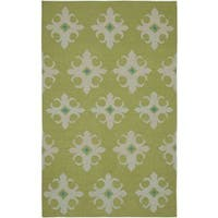 Handmade Flatweave Swing Green Wool Damask Area Rug - 8' x 10'