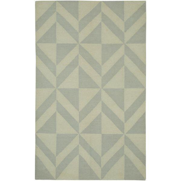 Handmade Flatweave Swing Light Grey Wool Geometric Abstract Diamonds Area Rug - 8'x10'