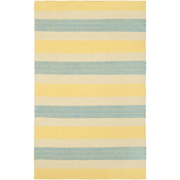 Handmade Twist Yellow Gold Wool Stripped Area Rug - 8' x 10'