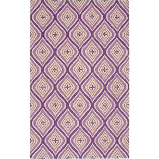 Hand-Tufted Country Purple Wool Trellis Diamond Area Rug (5'x8')