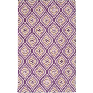 Hand-Tufted Purple Trellis Wool Area Rug (8' x 10')