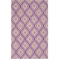 Hand-Tufted Purple Trellis Wool Area Rug - 8' x 10'