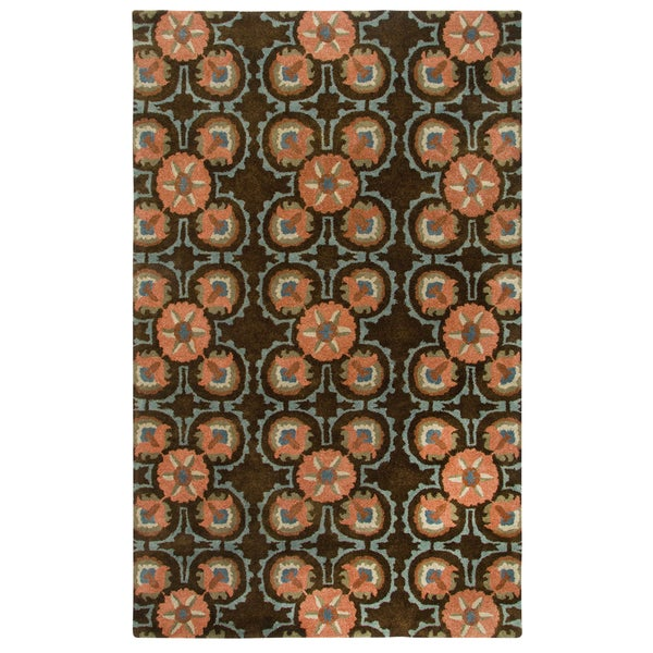 Hand-Tufted Destiny Brown Wool Floral Medallion Area Rug (8'x10') - 8' x 10'