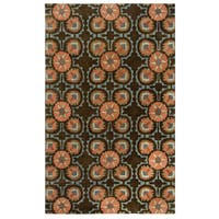 Hand-Tufted Destiny Brown Wool Floral Medallion Area Rug (8'x10')