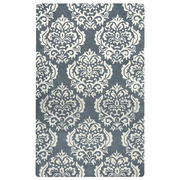 Hand-Tufted Marianna Fields Grey Wool Damask Area Rug (8'x10')