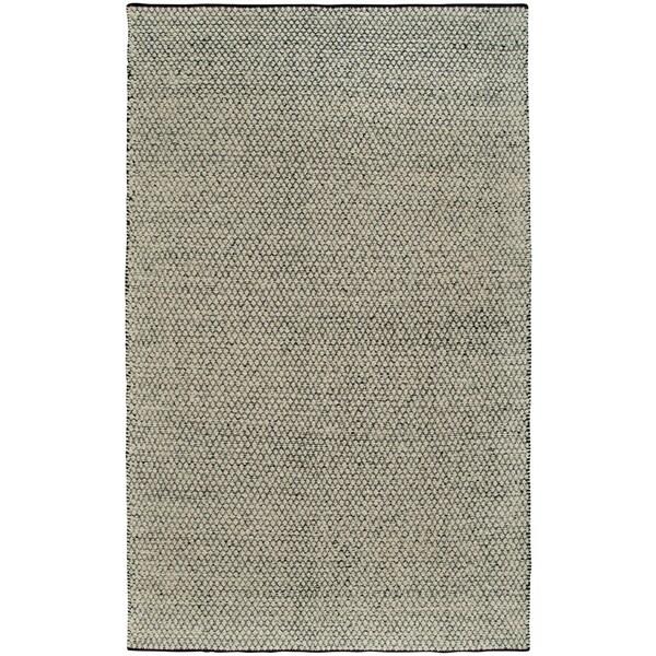 Hand-Woven Twist Black/Grey Wool Geometric/Tiny Diamonds Area Rug (8'x10')