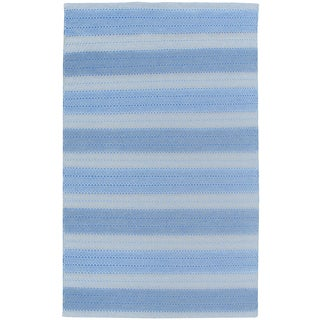 Hand-Woven Twist Blue Wool Stripes Area Rug  (8'x10')