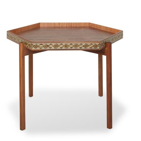 Handmade Hexagon Wood Inlay Table (Lebanon)