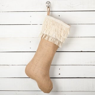 Tiered Fringe Design Decorative Jute Christmas Stocking