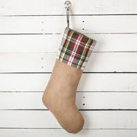 Inverness Collection Plaid Design Decorative Jute Christmas Stocking