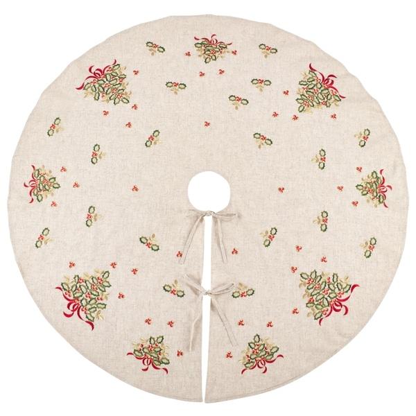 Linen Christmas Tree Skirt: Shop Embroidered Holly Design Decorative Linen Blend