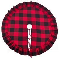 Buffalo Plaid Ruffle Design Decorative Cotton Christmas Tree Skirt