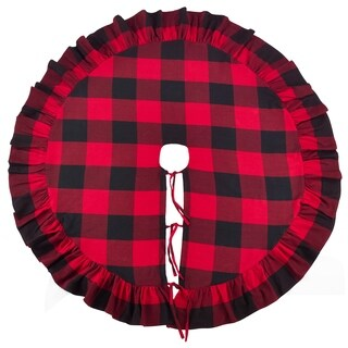 Buffalo Plaid Ruffle Design Decorative Cotton Christmas Tree Skirt