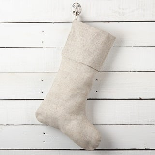 Natural Linen Blend Decorative Christmas Stocking